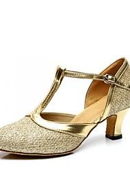 preiswerte -Damen Schuhe für den lateinamerikanischen Tanz Paillette Sandalen Blockabsatz Maßfertigung Tanzschuhe Silber / Purpur / Braun / Innen