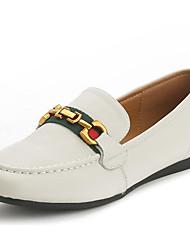 abordables -Femme Chaussures Cuir Printemps Automne Confort Mocassins et Chaussons+D6148 Talon Plat pour Blanc Noir
