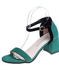 baratos -Mulheres Sapatos Borracha Verão Conforto Sandálias Caminhada Salto Robusto Presilha Verde / Vinho / Amêndoa