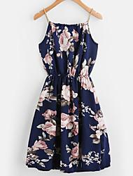baratos -Mulheres Tamanhos Grandes Feriado Boho Evasê Vestido - Estampado, Floral Com Alças / Ombro a Ombro Acima do Joelho