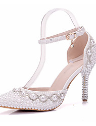 cheap -Women's Shoes PU(Polyurethane) Spring / Fall Comfort / Novelty Wedding Shoes Stiletto Heel Pointed Toe Rhinestone / Pearl / Buckle White