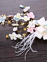 cheap -Imitation Pearl / Fabric / Copper wire Hair Clip / Hair Accessory with Faux Pearl / Feathers / Fur / Flower 1 Piece Wedding Headpiece