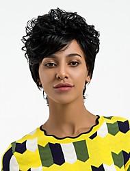 preiswerte -Synthetische Perücken Locken Pixie-Schnitt Natürlicher Haaransatz Schwarz Damen Kappenlos Natürliche Perücke Kurz Synthetische Haare