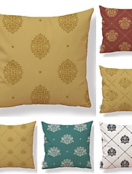 cheap -6 pcs Textile Cotton / Linen Pillow case, Floral Geometric Printing Square Shaped Vintage