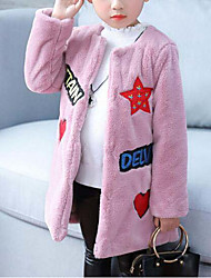 cheap -Girls' Down & Cotton Padded, Rabbit Fur Faux Fur Cotton Winter Fall Long Sleeves Blushing Pink Camel