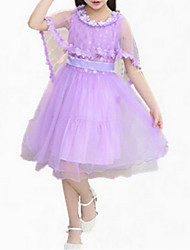 cheap -Girl's Going out Patchwork Dress, Cotton Summer Sleeveless Dresswear Lace White Purple Pink