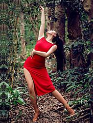 billige -Latin Dans Kjoler Dame Ydeevne Syntetisk silke Split Uden ærmer Kjole