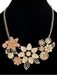 preiswerte -Damen Blumig Strass Strass Statement Ketten  -  Blumig Retro Party Blume Rosa 45cm Modische Halsketten Für Urlaub Verabredung
