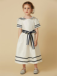 cheap -A-Line Tea Length Flower Girl Dress - Cotton Short Sleeves Jewel Neck with Bow(s) Sash / Ribbon by LAN TING BRIDE®