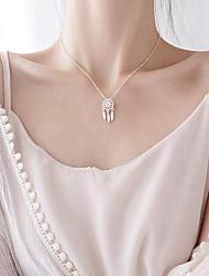 Недорогие -Ожерелья с подвесками  -  Ловец снов Этнический, Милая, Мода Серебряный 44 cm Ожерелье Назначение Подарок, Повседневные