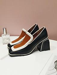 abordables -Femme Chaussures PU de microfibre synthétique Printemps Automne Confort Chaussures à Talons Block Heel Bout carré pour Décontracté Noir