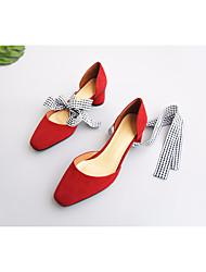 preiswerte -Damen Schuhe Leder Frühling Herbst Pumps Komfort High Heels Blockabsatz für Normal Schwarz Rot Mandelfarben