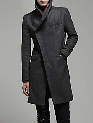 cheap -Men's Basic Long Coat - Solid Colored, Oversized Stand / Long Sleeve