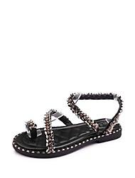 abordables -Femme Chaussures Polyuréthane Eté Confort Sandales Talon Bas Bout rond Strass pour Noir Beige