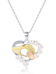 abordables -Mujer Perla Collares con colgantes - Perla, Chapado en Oro, S925 Sterling Silver Corazón Moda, Elegante Plata 40 cm Gargantillas Para Regalo, Diario