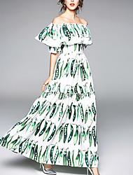baratos -Mulheres Moda de Rua Sereia Vestido Floral Longo