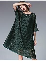 abordables -Femme Grandes Tailles Manche Gigot Coton Set - Couleur Pleine, Plissé Robes / Printemps
