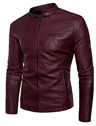 cheap -Men's Basic Leather Jacket - Solid Colored