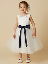 cheap -Princess Tea Length Flower Girl Dress - Satin / Tulle Sleeveless Jewel Neck with Beading / Sash / Ribbon by LAN TING BRIDE®