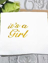 abordables -Papier pur Serviettes de mariage - 5pcs Serviette de dîner Anniversaire Thème classique