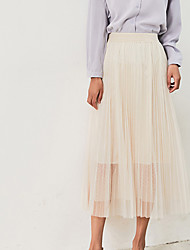 cheap -Women's Cotton Swing Skirts - Solid Colored Pleated