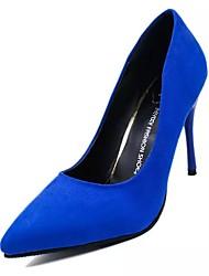 baratos -Mulheres Sapatos Camurça Outono Conforto Saltos Caminhada Salto Agulha / Salto Alto de Cristal Dedo Apontado Vermelho Rosa / Vermelho /