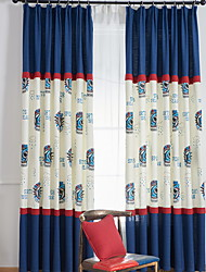 cheap -Curtains Drapes Living Room Color Block Cartoon Cotton / Polyester Printed