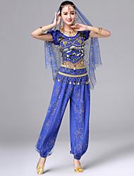 baratos -Dança do Ventre Roupa Mulheres Espetáculo Elastano Bordado / Moedas de Bronze Manga Curta Caído Blusa / Calças / Acessórios de Cintura
