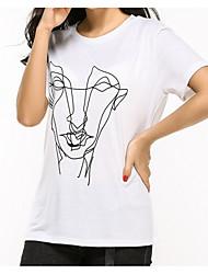 baratos -Mulheres Camiseta - Feriado Básico Estampado, Retrato Algodão / Verão