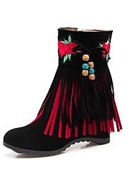 Недорогие -Жен. Обувь Полиуретан Осень Зима Ботильоны Ботинки Туфли на танкетке Круглый носок Ботинки С кисточками для Черный Бежевый Красный