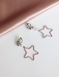 cheap -Mismatched / Long Drop Earrings - Pearl Star Korean, Fashion Pink For Gift / Daily