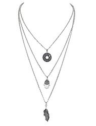 Недорогие -Слоистые ожерелья - В форме листа Серебряный Рука Фатимы 47 cm Ожерелье Назначение Вечеринка / ужин, Школа