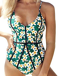cheap -Women's Boho Plunging Neckline One-piece - Floral Backless High Waist