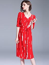 abordables -Mujer Simple Chic de Calle Recto Vestido - Estampado, Geométrico Midi