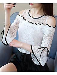 preiswerte -Damen Solide Blumen - Grundlegend Bluse Spitze