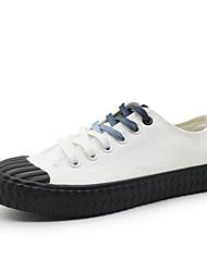 baratos -Mulheres Sapatos Lona Primavera Outono Conforto Tênis Salto Baixo para Casual Branco Preto