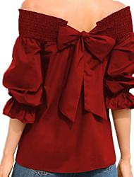 abordables -Tee-shirt Femme,Couleur Pleine Basique Epaules Dénudées Bateau Mince