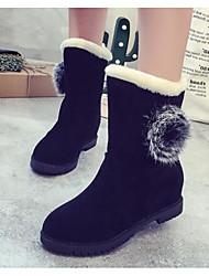 povoljno -Žene Cipele PU Jesen Zima Čizme za snijeg Čizme Ravna potpetica Čizme do pola lista za Kauzalni Crn Crveni Drak Svjetlosmeđ