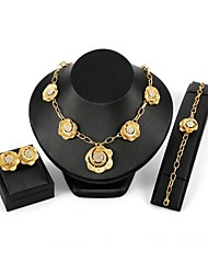 cheap -Women's Zircon / Gold Plated Floral Flower Jewelry Set 1 Necklace / 1 Bracelet / Earrings - Floral / Statement Gold Jewelry Set / Stud