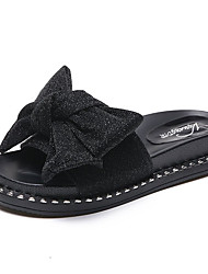 cheap -Women's Shoes Fabric Summer Comfort Slippers & Flip-Flops Flat Heel Round Toe Bowknot for Gold Black Silver