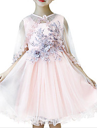 abordables -Robe Fille de Quotidien Sortie Couleur Pleine Coton Polyester Eté Sans Manches Mignon Actif Bleu Rose Claire Jaune