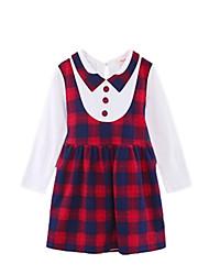abordables -Robe Fille de Quotidien Vacances Tartan Coton Polyester Printemps Automne Manches Longues Mignon Actif Rouge Rose Claire