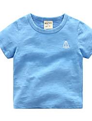 preiswerte -Jungen Alltag Festtage Solide Gestreift T-Shirt, Baumwolle Sommer Kurzarm Grundlegend Weiß Marineblau Purpur Leicht Blau