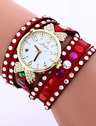 cheap -Women's Fashion Watch Chinese Casual Watch / Imitation Diamond PU Band Casual / Minimalist Black / White / Blue