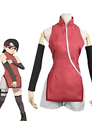 cheap -Inspired by Naruto Uchiha Sarada Anime Cosplay Costumes Cosplay Suits Other Sleeveless Stockings More Accessories Cheongsam Shorts For