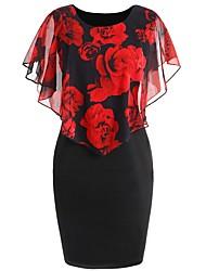 baratos -Mulheres Sofisticado Moda de Rua Manga Morcego Tubinho Vestido - Estampado, Floral Geométrica Acima do Joelho