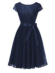 baratos -Mulheres Vintage / Básico Evasê / Bainha Vestido - Renda / Vazado / Guarnição do laço, Sólido Altura dos Joelhos