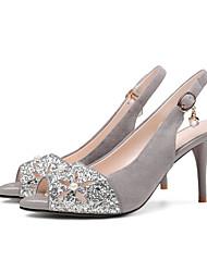 preiswerte -Damen Schuhe Leder Frühling Sommer Pumps Komfort Sandalen Stöckelabsatz für Normal Schwarz Grau Rosa
