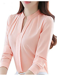 cheap -Women's Work Street chic Blouse - Solid Colored Crew Neck