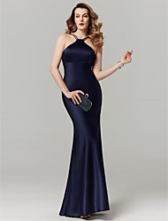 cheap -Sheath / Column Y Neck Floor Length Satin Cocktail Party / Prom / Formal Evening Dress with Bandage by TS Couture®